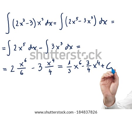 Solving integral equation. Isolated on white. - stock photo