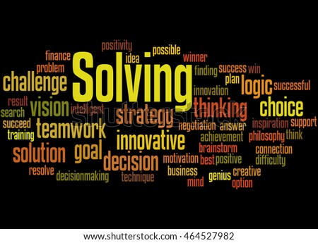 Solving, word cloud concept on black background.