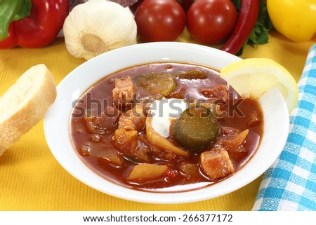 Solyanka in a soup bowl with bread - stock photo