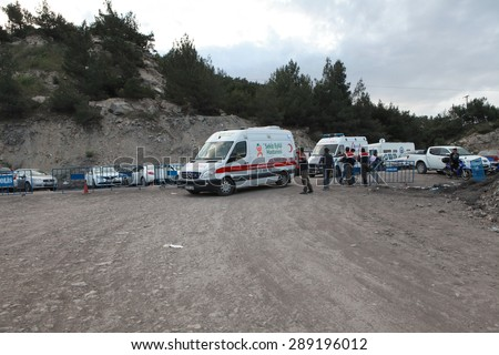 SOMA, TURKEY-MAY 14, 2014: Turkey coal mine explosion at Soma in Manisa. 301 pitman was died. View of the area of Soma mine. The mine was exploded on May 13, 2014.  - stock photo