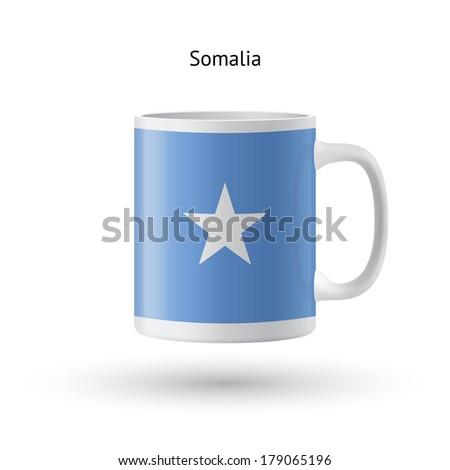 Somalia flag souvenir mug isolated on white background. - stock photo