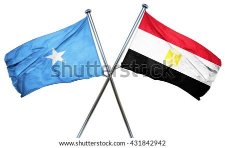Somalia flag with Egypt flag, 3D rendering - stock photo