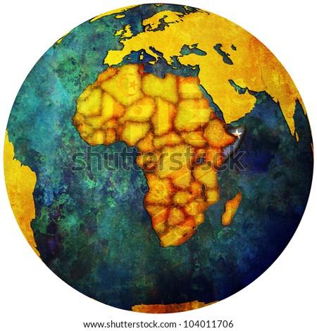 somalia territory with flag on map of globe - stock photo