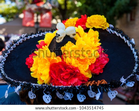 Sombrero decorated paper mache flowers skulls stock photo royalty sombrero decorated with paper mache flowers and skulls fro dia de los muertosday od mightylinksfo Choice Image