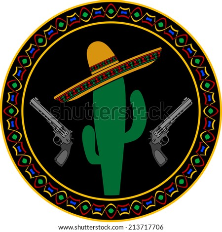 sombrero, two pistols and cactus. first variant. raster version - stock photo