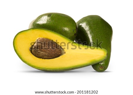 Some avocados on a white background