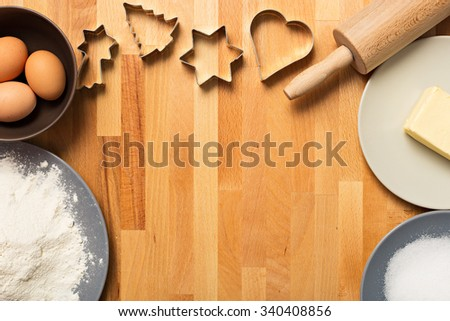 Some baking utensil and ingredients - stock photo