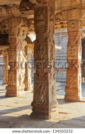 Ancient Hampi At Carved Pillars Stock Photos Images