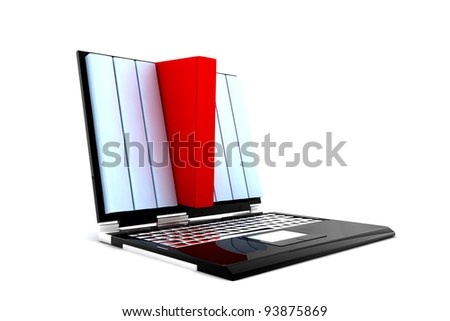 Some blue and a red book inside a monitor of a pc