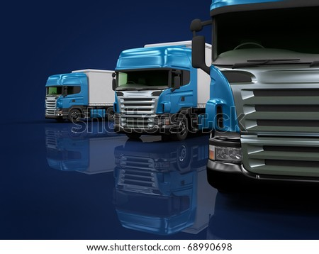 Some blue trucks on blue background - stock photo