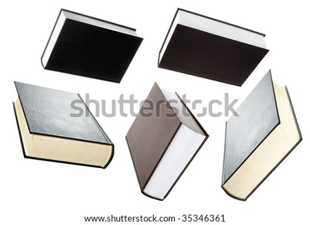 some books isolated on a white background - stock photo