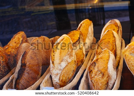 some bread in french bakery shop
