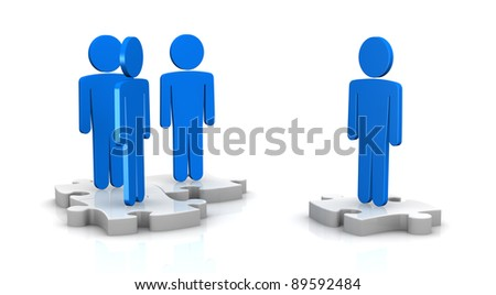 some cartoon people over puzzle pieces (3d render) - stock photo