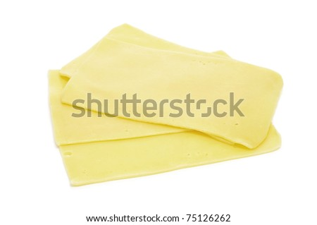 some cheese slices on a white background