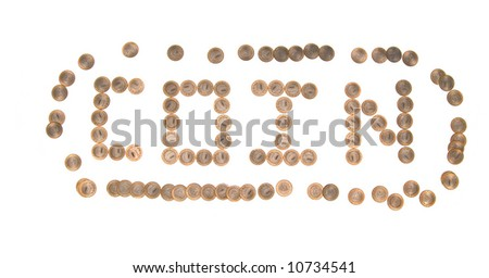 """Some coins as word """"coin"""". Russian currency - stock photo"""
