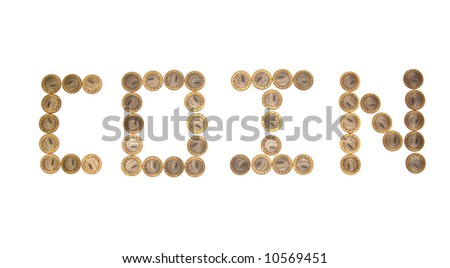 """Some coins as word """"cost"""". Russian currency - stock photo"""