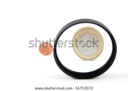 Some coins isolated on a white background. - stock photo