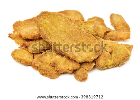 some cooked breaded fillets of seitan on a white background - stock photo