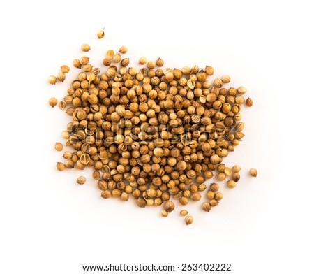 Some coriander seeds isolated on white background - stock photo
