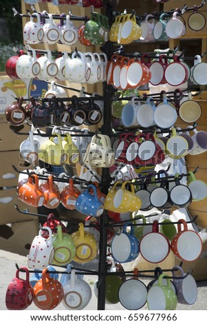 some cups on a market in budapest