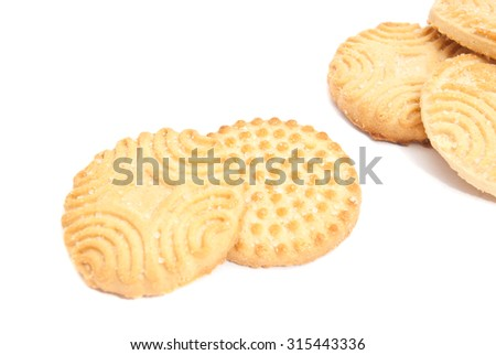 some delicious cookies closeup on white background