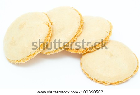 some fresh almond cookies with crusty icing - stock photo