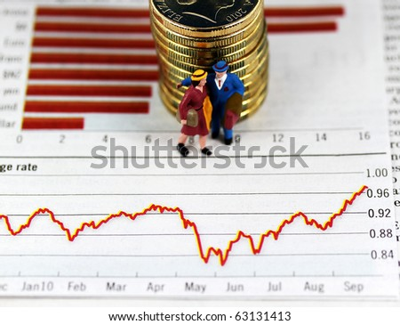 Some gold coins stacked together on two investment charts with  plastic male and female figure standing in front of the coins, asking the question are you receiving sound financial advice.