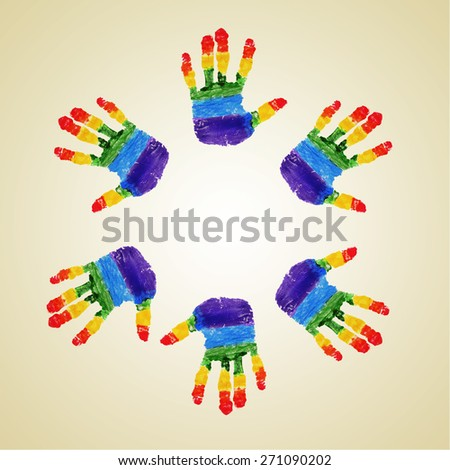 some handprints with the colors of the rainbow flag forming a circle on a beige background - stock photo