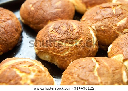 Some home-baked muffins on a plate close-up photo