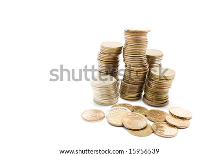 Some isolated coins here - stock photo
