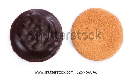 Some Jaffa Cakes isolated on white background (close-up shot) - stock photo