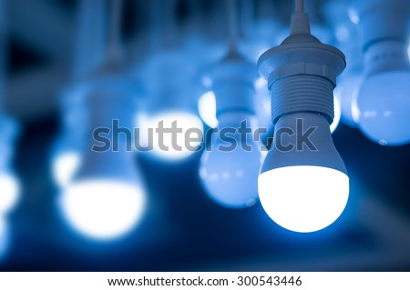 some led lamps blue light science technology background - stock photo