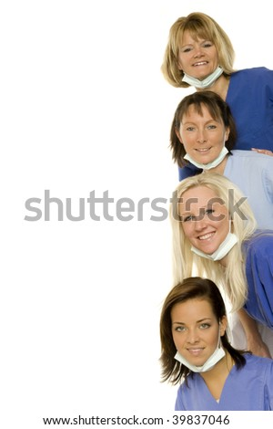Some lucky doctors on white background - stock photo