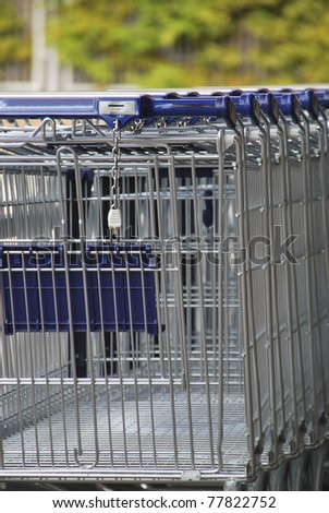 Some market carts ready to be used - stock photo