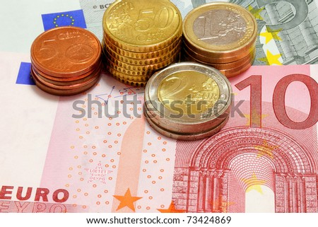 some money, 10 euro and other - stock photo
