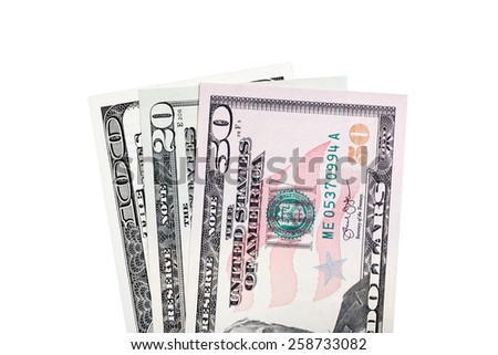 Some of American money (bills) isolated on white. - stock photo