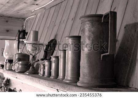 Some old beer mugs on the a corbel  - stock photo