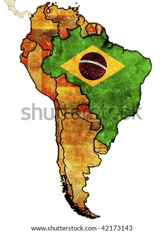 some old grunge political map of brazil - stock photo