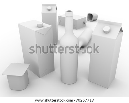 Some packaging models made of glass, cardboard and plastic . Concept of ecology and recycling - stock photo