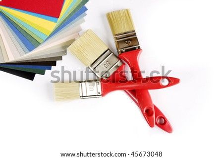 some paintbrushs and color smples - stock photo