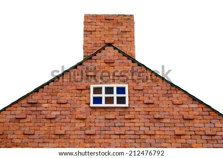 some part of new brick house on white background - stock photo