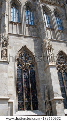Some part of the famous cathedral of saint Stephen with gothic windows,  Vienna, Austria - stock photo