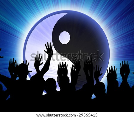 some party people with the yin yang sign - stock photo