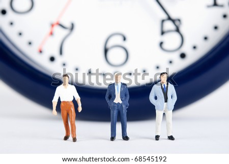 some people on clock of time - stock photo