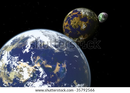 Some planet in deep space4 - stock photo