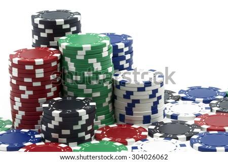some poker tokens on white background - stock photo