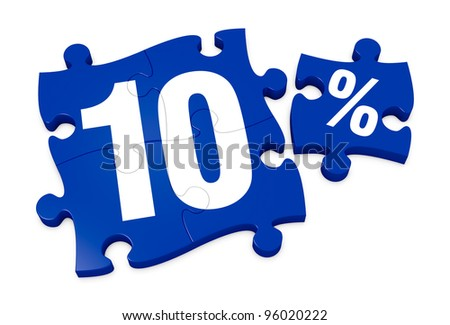 some puzzle pieces with the number 10 and the percent symbol (3d render) - stock photo
