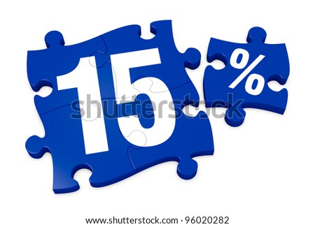 some puzzle pieces with the number 15 and the percent symbol (3d render) - stock photo