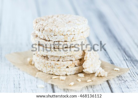 Some Rice Cakes (close-up shot) on an old wooden table