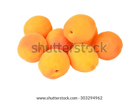 Some ripe apricot, isolated on white background - stock photo